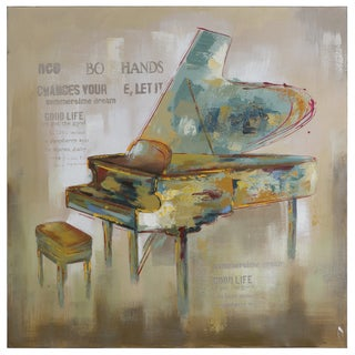 Yosemite Home Decor 'Paris Piano' Original Hand-painted Wall Art