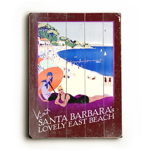 Santa Barbara Lovely East Beach - Wall Decor by Posters Please - blue/white/purple