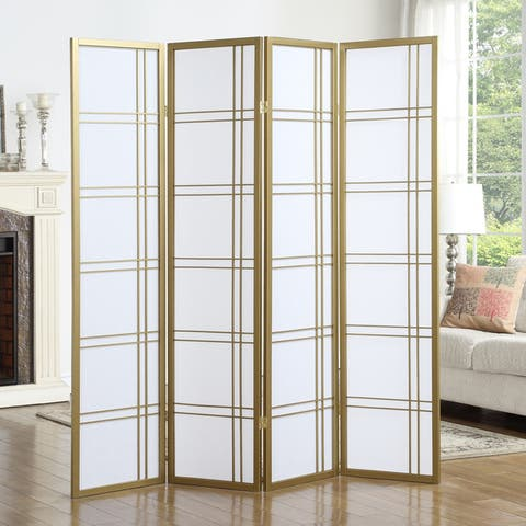 Seto White Wood and Paper 4-panel Room Divider Screen