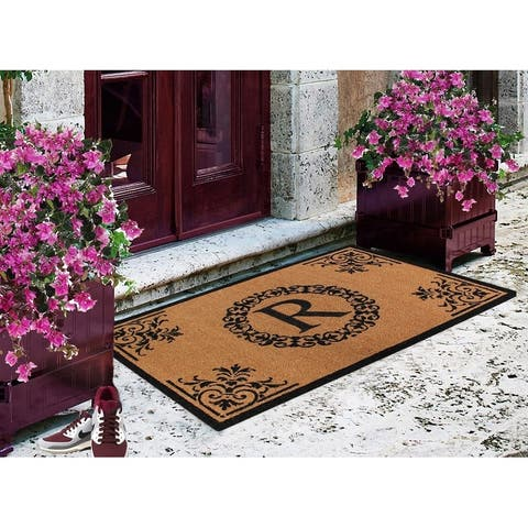 "A1HC Brown/Black Vinyl/Coir Floral Monogrammed Double Doormat,30""x48"""