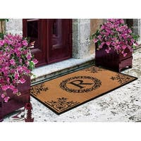 A1HC First Impression Brown/Black Vinyl/Coir 30-inch x 48-inch Floral Monogrammed Double Doormat
