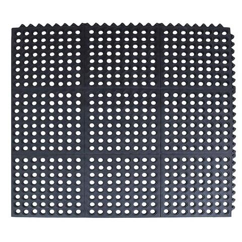 First Impression Black Rubber Anti-fatigue Restaurant/Kitchen Mat