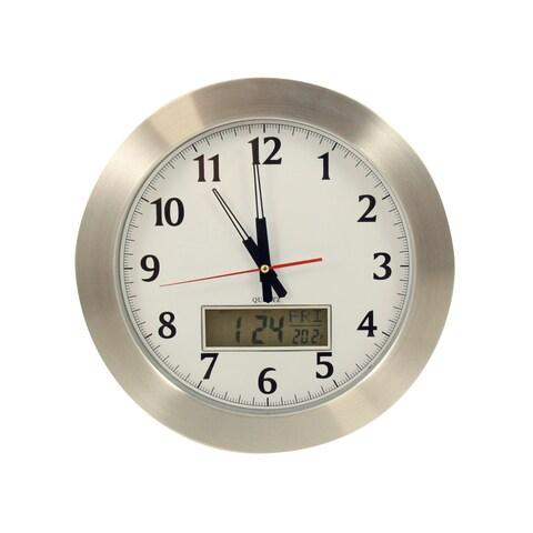 Bey Berk Greenwich Stainless Clock with Day, Date, and Temperature