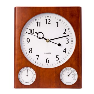 Bey Berk Brown Wood Wall Clock w/ Thermometer and Hygrometer