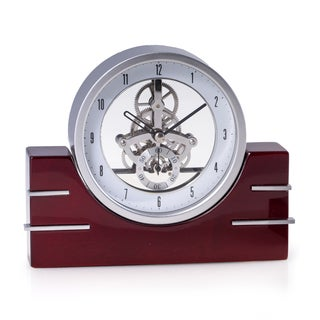 Bey Berk Brown Wood Rio de Janeiro Skeleton Desk Clock