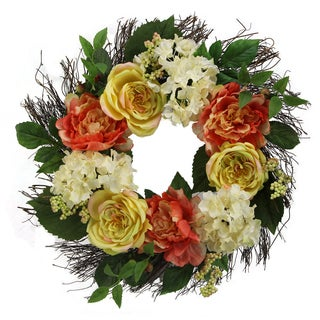 "24"" Rose, Hydrangea, Peony Wreath Spring Greenery For Door Wall  Wreath"