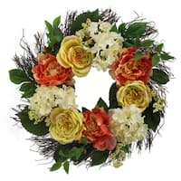 "23"" Rose, Hydrangea, Peony Wreath Spring Greenery For Door Wall Wreath"