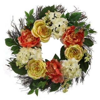 "24"" Rose, Hydrangea, Peony Wreath Spring Greenery For Door Wall Wreath"