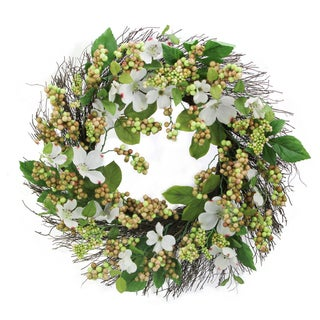 "24"" Dogwood, Berry Wreath Spring Greenery For Door Wall Wreath"