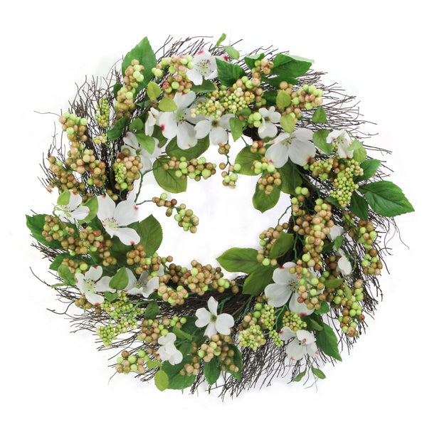 24 Dogwood Berry Wreath Spring Greenery For Door Wall