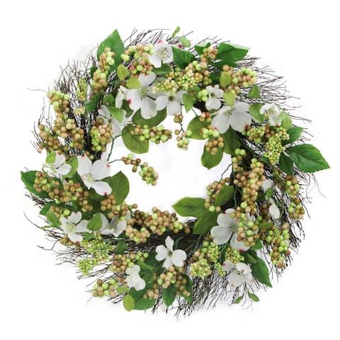 "24"" Dogwood, Berry Wreath Spring Greenery For Door Wall Wreath"