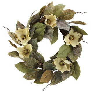Admired by Nature 24-inch Magnolia Pine Cone Wreath