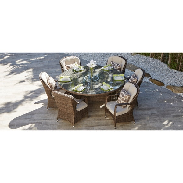 Puerta Outdoor Garden 6 Seat Brown Wicker Dining Set With Lazy Susan By  Direct Wicker