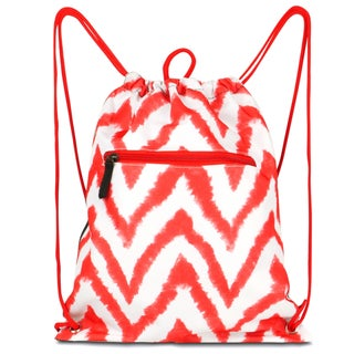 Zodaca Chevron Tie Dye Red Drawstring Backpack Sackpack Sling Bag for School/ Gym/ Outdoors Sports
