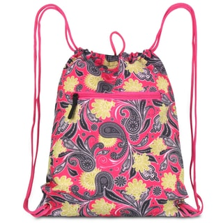 Zodaca Pink/ Yellow Paisley Drawstring Backpack Sackpack Sling Bag for Gym/ School/ Outdoor Sports