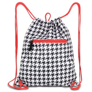 Zodaca Black/ White Houndstooth with Red Trim Drawstring Backpack Sackpack Sling Bag for Gym/ School/ Outdoor Sports