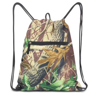 Zodaca Natural Camo Print Drawstring Backpack Sackpack Sling Bag for Gym/ School/ Outdoor Sports