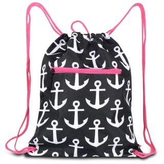 Zodaca Black/ White Anchors with Pink Trim Drawstring Backpack Sackpack Sling Bag for Gym/ School/ Outdoor Sports