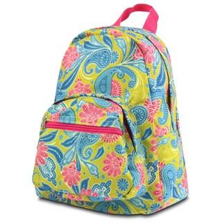 Zodaca Green/ Pink Paisley Small Zipper Backpack Rucksack for Kids