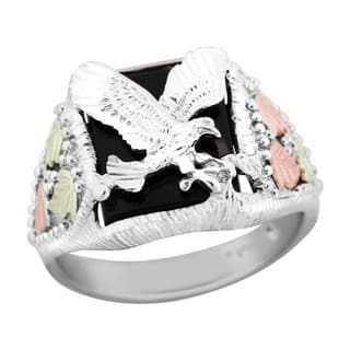 Black Hills Gold and Sterling Silver Mens Eagle Ring https://ak1.ostkcdn.com/images/products/1663016/P10036372.jpg?impolicy=medium