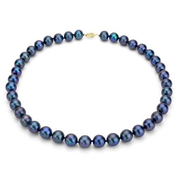 DaVonna 14k 11-12mm Black Freshwater Cultured Pearl Strand Necklace  (16-36 inches)