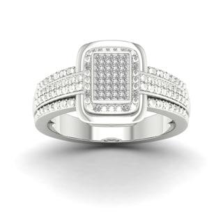De Cour 1/10ct TDW Diamond Halo Engagement Ring - White