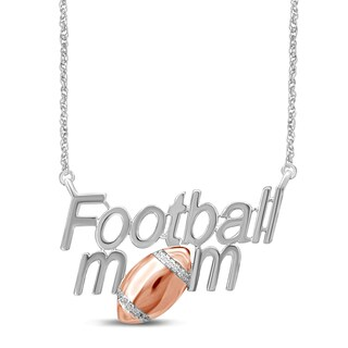 Unending Love Sterling Silver Diamond Accent Football Mom Pendant (IJ I2-I3)