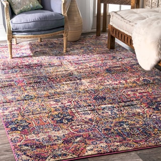 nuLOOM Contemporary Distressed Abstract Tribal Fantasy Pink Rug (5' x 8')