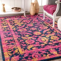 nuLOOM Traditional Shaded Floral Herati Border Fuchsia Rug - 5' x 8'