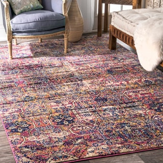 nuLOOM Contemporary Distressed Abstract Tribal Fantasy Pink Rug (7'6 x 9'6)
