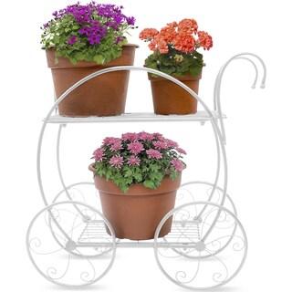 Sorbus® Garden Cart Stand & Flower Pot Plant Holder Display Rack, 2 Tiers Circular Frame, Parisian Style (White)