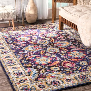 nuLOOM Traditional Abstract Herati Floral Border Navy Rug (7'6 x 9'6)