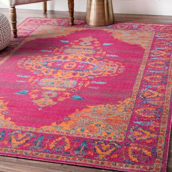 shop nuloom traditional loyal medallion border pink rug 4 39 x 6 39 on sale free shipping. Black Bedroom Furniture Sets. Home Design Ideas