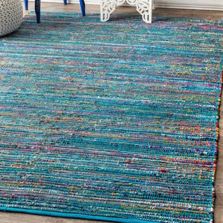 nuLOOM Casual Handmade Braided Blended Stripes Blue Rug (7'6 x 9'6)