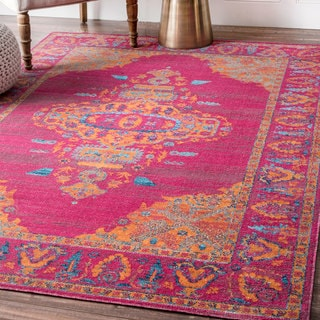nuLOOM Pink Traditional Loyal Medallion Border Area Rug