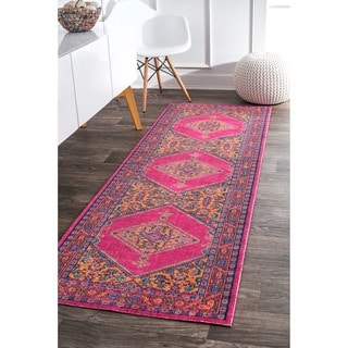 NuLOOM Traditional Geometric Herati Medallion Border Pink Runner Rug (2u00278  ...
