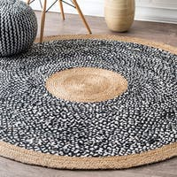 nuLOOM Causal Natural Fiber Jute And Cotton Token Black Round Rug (6' Round) - 6' Round