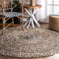 nuLOOM Causal Natural Fiber Jute And Cotton Pinstripes Black Round Rug (8' Round) - 8' Round