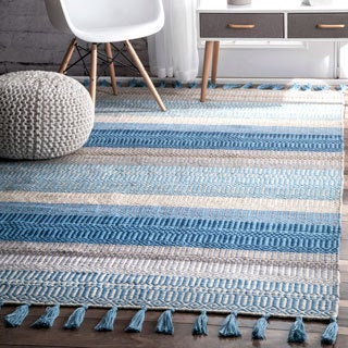 nuLOOM Casual Handmade Flatweave Indoor/Outdoor Stripes Light Blue Tassel Rug (5' x 8')