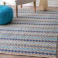 """nuLOOM Handmade Flatweave Natural Fiber Jute Diamond Stripes Blue Rug (7'6 x 9'6) - 7'6"""" x 9'6"""""""