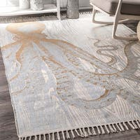 nuLOOM Handmade by Thomas Paul Faded Golden Seaside Octopus Ivory Tassel Rug (4' x 6') - 4' x 6'