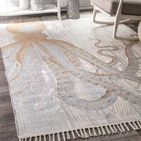 nuLOOM Handmade by Thomas Paul Faded Golden Seaside Octopus Ivory Tassel Rug - 5' x 8'