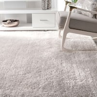 nuLOOM Causual Solid Vibrant White Shag Rug - 7'6 x 9'6