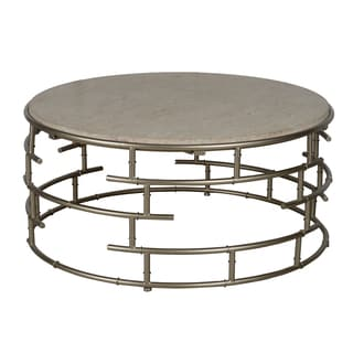 Segments Silver Metal and Marble Round Coffee Table