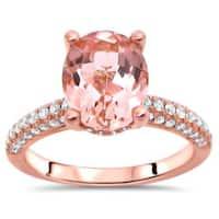 Noori 14k Rose Gold Oval-cut Morganite Diamond Engagement Ring (SI2-I1, G-H)