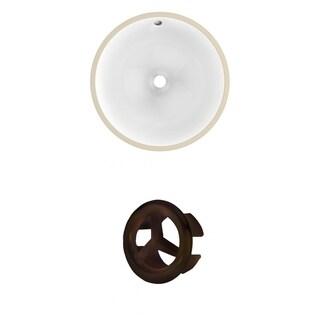 15.75-in. W CUPC Round Undermount Sink Set In White - Oil Rubbed Bronze Hardware