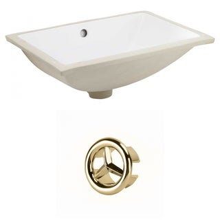 18.25-in. W CUPC Rectangle Undermount Sink Set In White - Gold Hardware