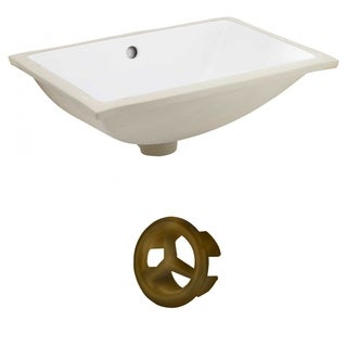 18.25-in. W CUPC Rectangle Undermount Sink Set In White - Antique Brass Hardware