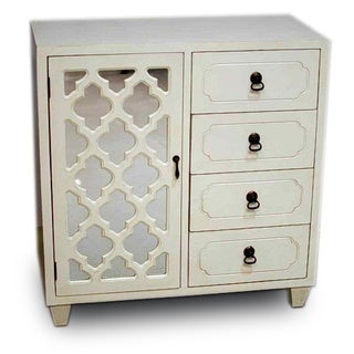 Heather Ann Creations Antique White Wood 4-drawer Accent Chest and Cabinet with Multi-clover Pattern with Mirrored Backing