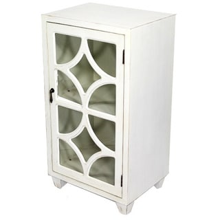 Free Standing Single Drawer Distressed Cabinet with Semi Circle Cross Glass Window Inserts